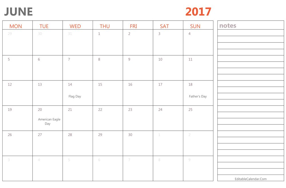 June 2017 Calendar with Notes | june month | Pinterest | Printable ...