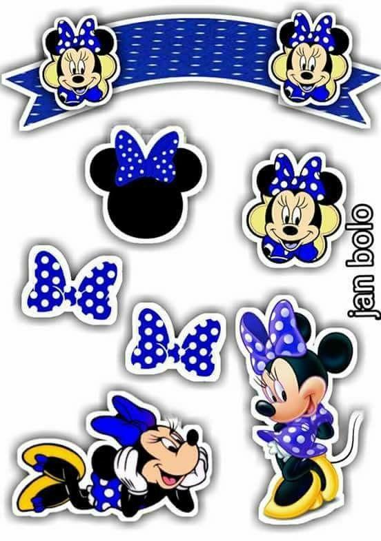 Adornos Tarta Minnie En Azul Fiestas Infantiles Pinterest - Adornos-tarta