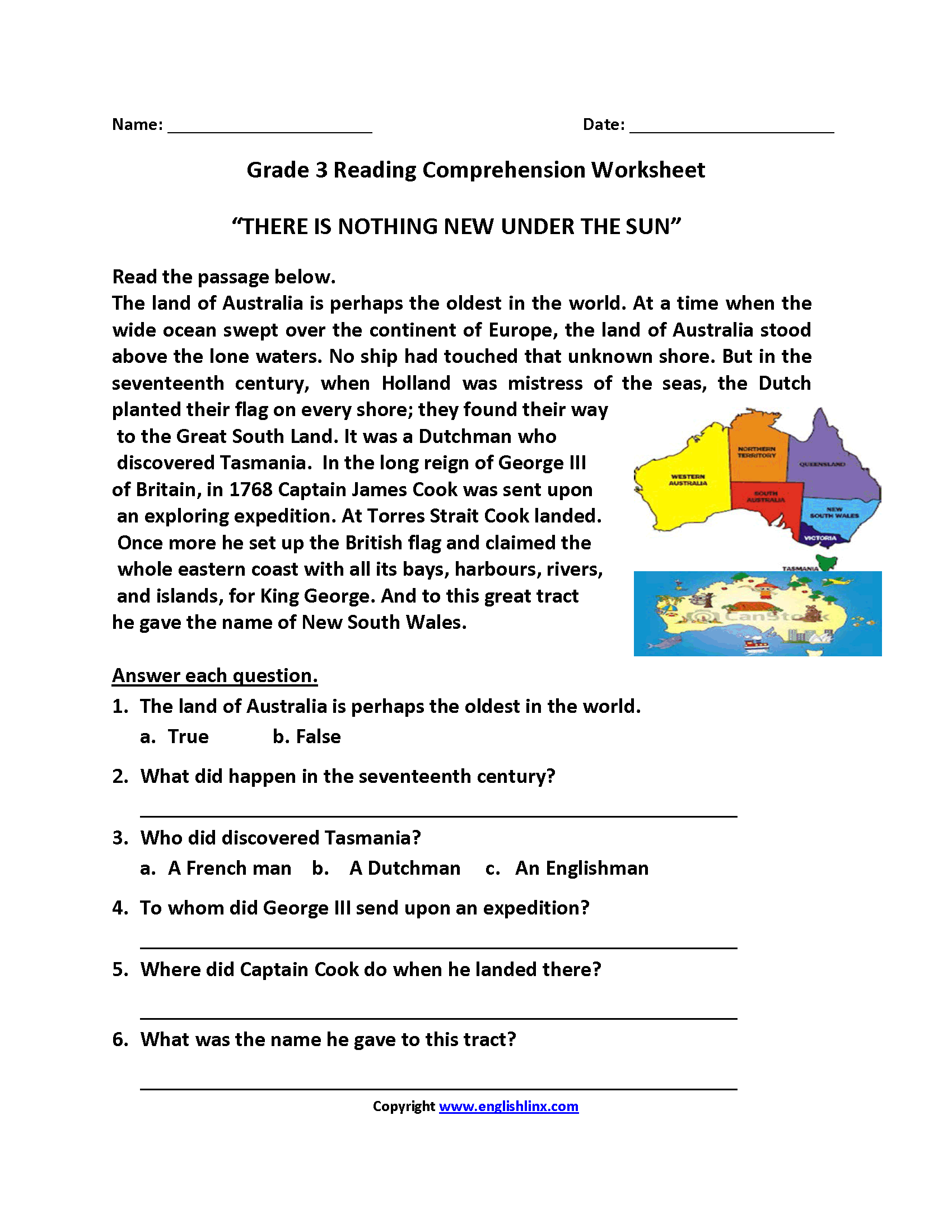 Reading Comprehension Noting Details Worksheet