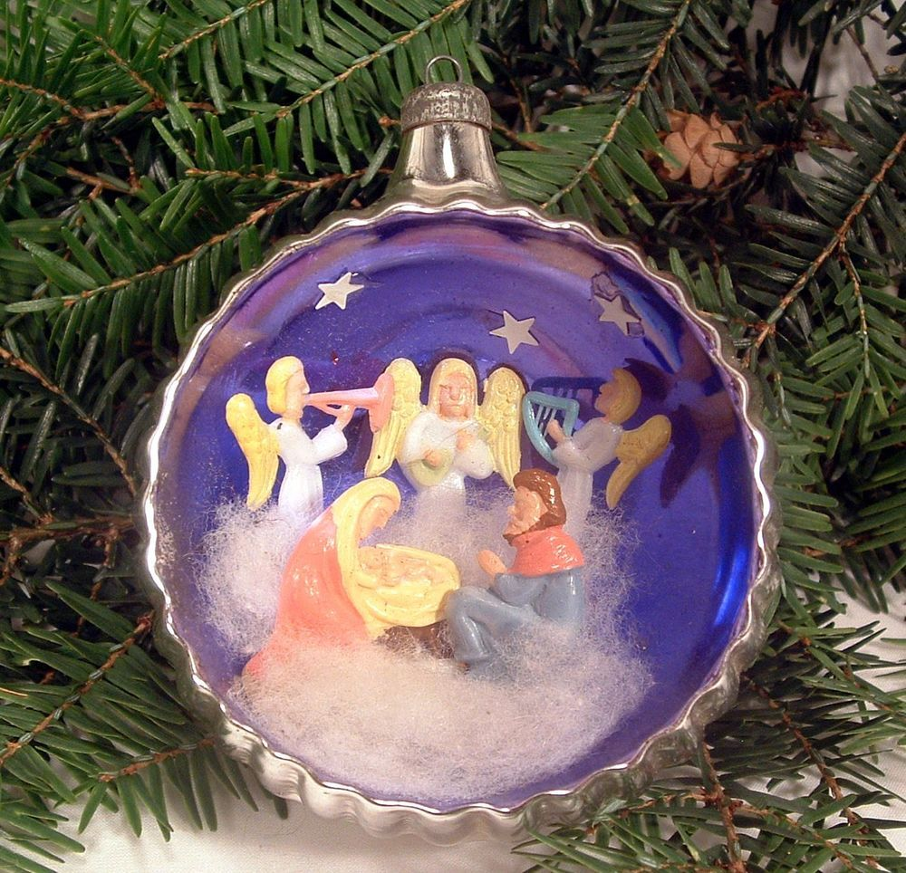 Nativity At Night Glass Ball Religious Christmas Ornament: Vintage Italian Silver Mercury Glass Diorama Christmas