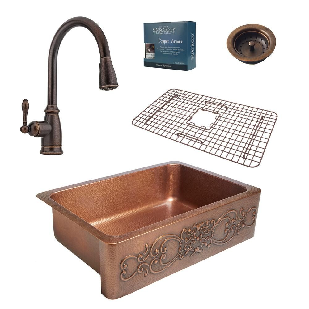 Sinkology Ganku All In One Farmhouse Apron Front Copper 33 In Single Bowl Kitchen Sink With Pfister Faucet And Drain In Copper Sk303 33 F529 B Copper Kitchen Copper Farmhouse Sinks Kitchen Sink Design