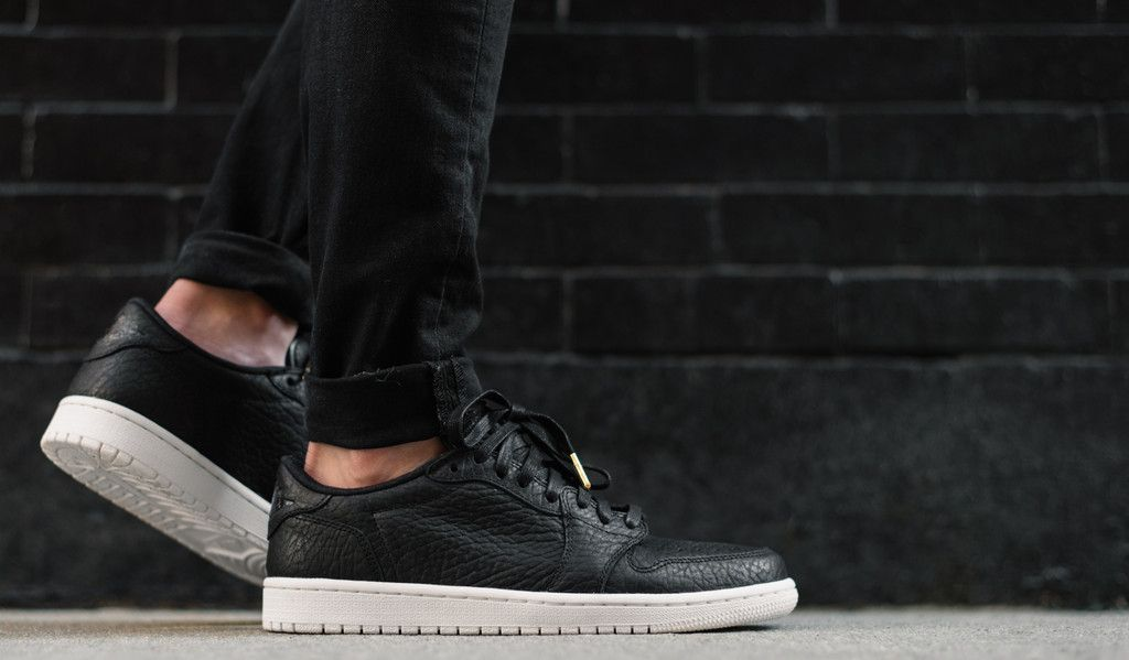 hot sales 9759e f6513 On-Feet Images Of The Air Jordan 1 Low No Swoosh Black