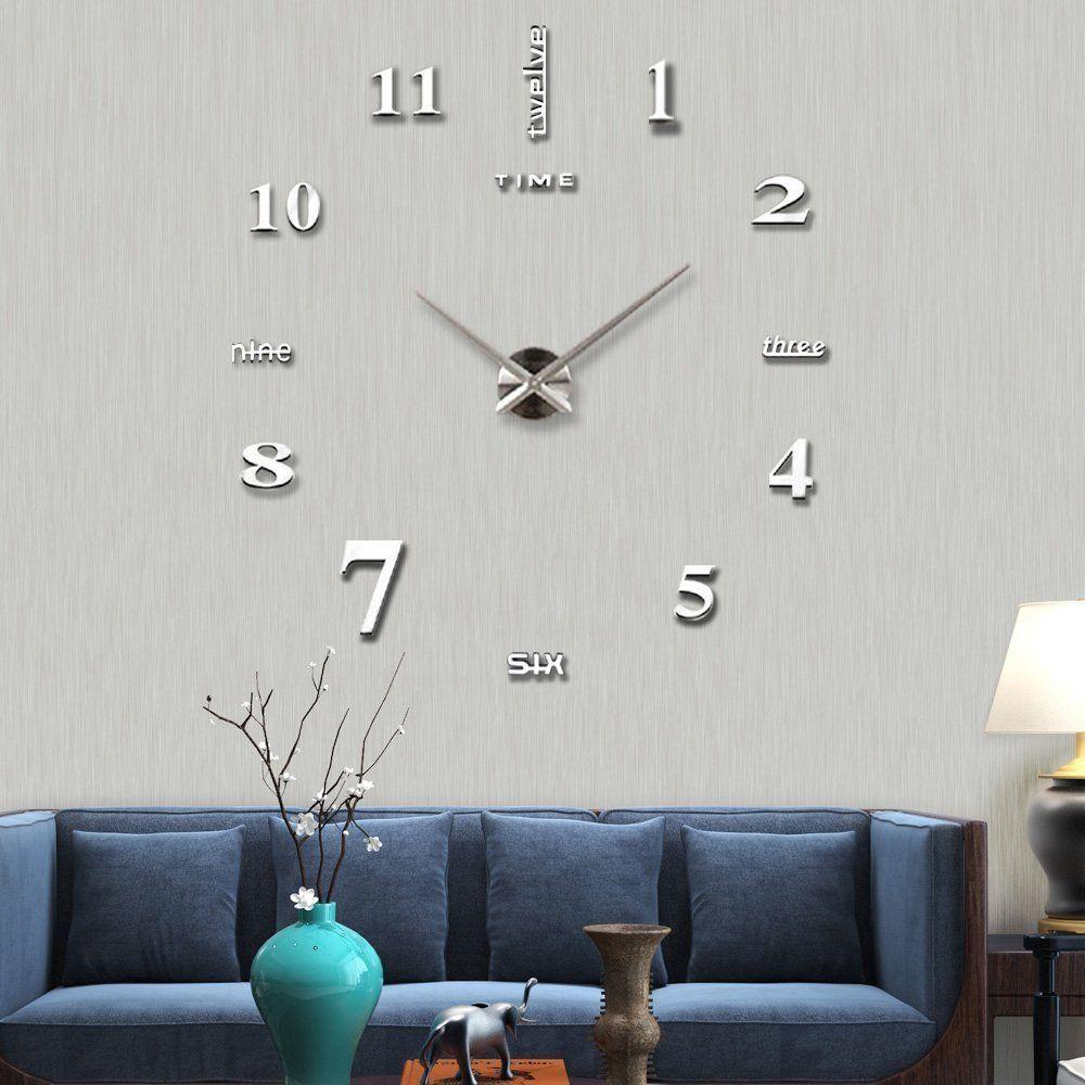 Decor Wall Sticker Clock 4 Colors Waterproof Decal Number Mirror Quartz Office