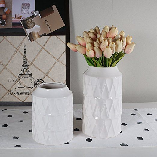 16 Amazon Wanya 105 Inch Tall White Ceramic Vase For Flowers