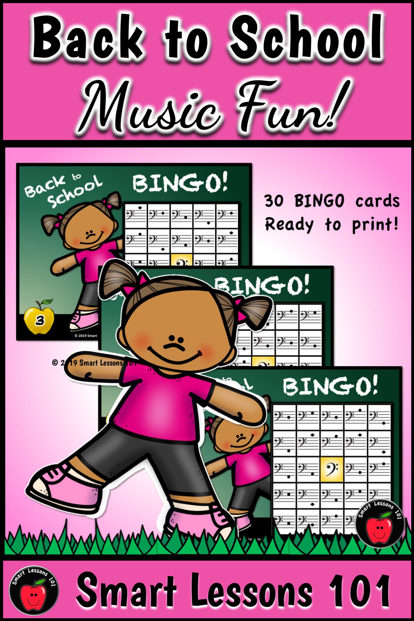 Back To School Bass Clef Bingo Game Back To School Note