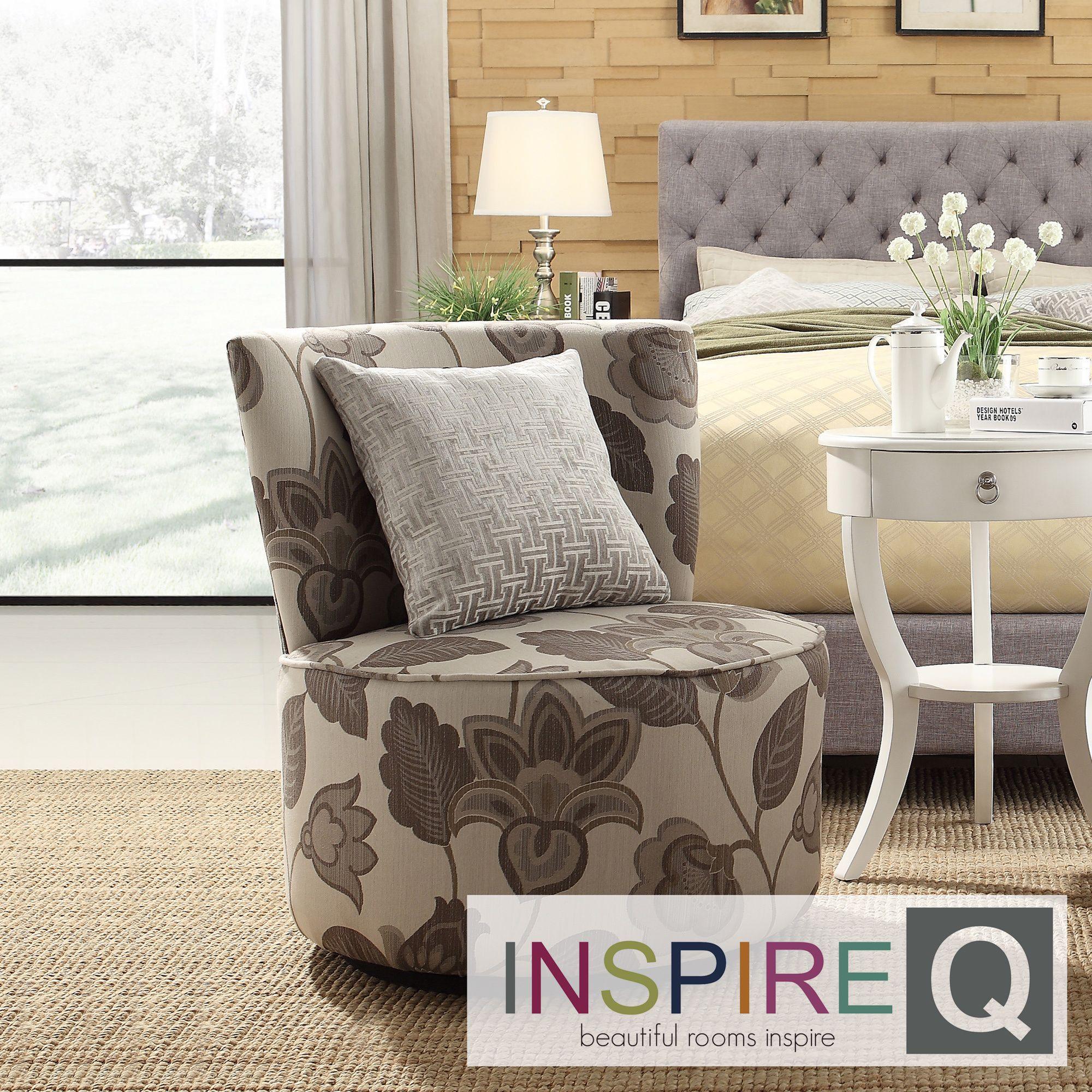 Inspire Q Moda Floral Poppy Print Modern Round Swivel Chair