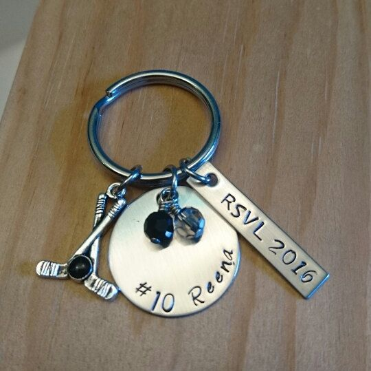 Hand Stamped Personalized Ice Hockey Keychain - Ice Hockey Gifts ... ea40b4d4f