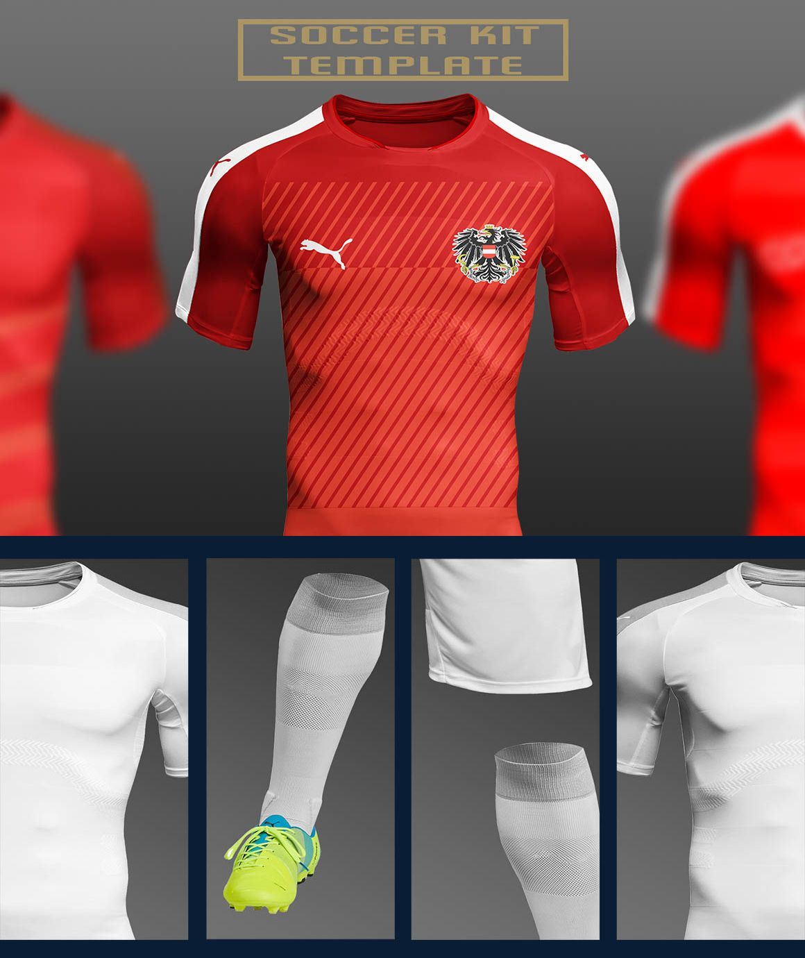 Download Complete Soccer Sports Kit Mockup Psd Psfiles Clothing Mockup Shirt Mockup Mockup Psd
