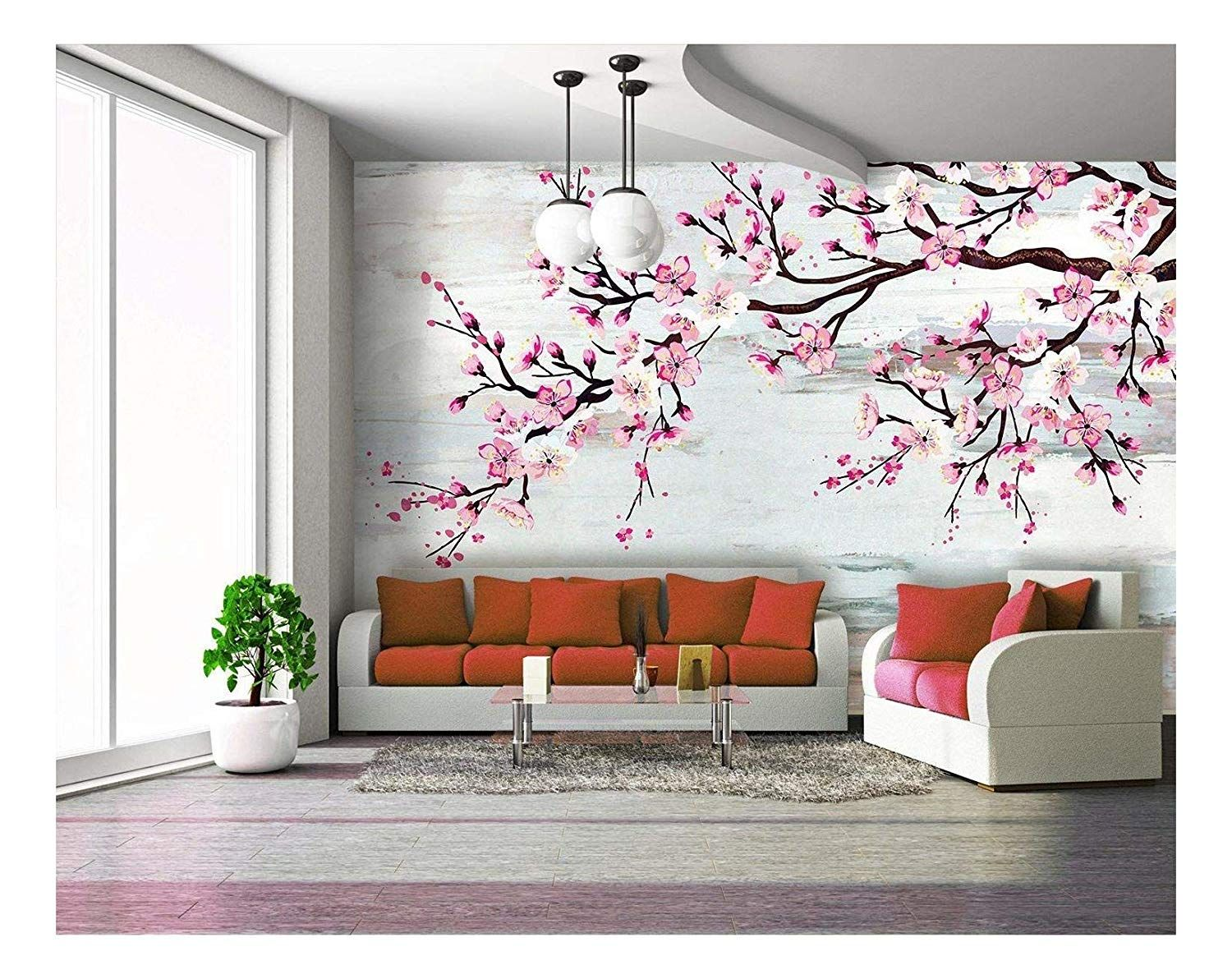 Large Wall Mural Watercolor Style Ink Painting Pink Cherry Blossom On Abstract Background Vinyl Wallpaper Removable Wall Decor In 2021 Large Wall Murals Bedroom Wall Designs Wall Murals