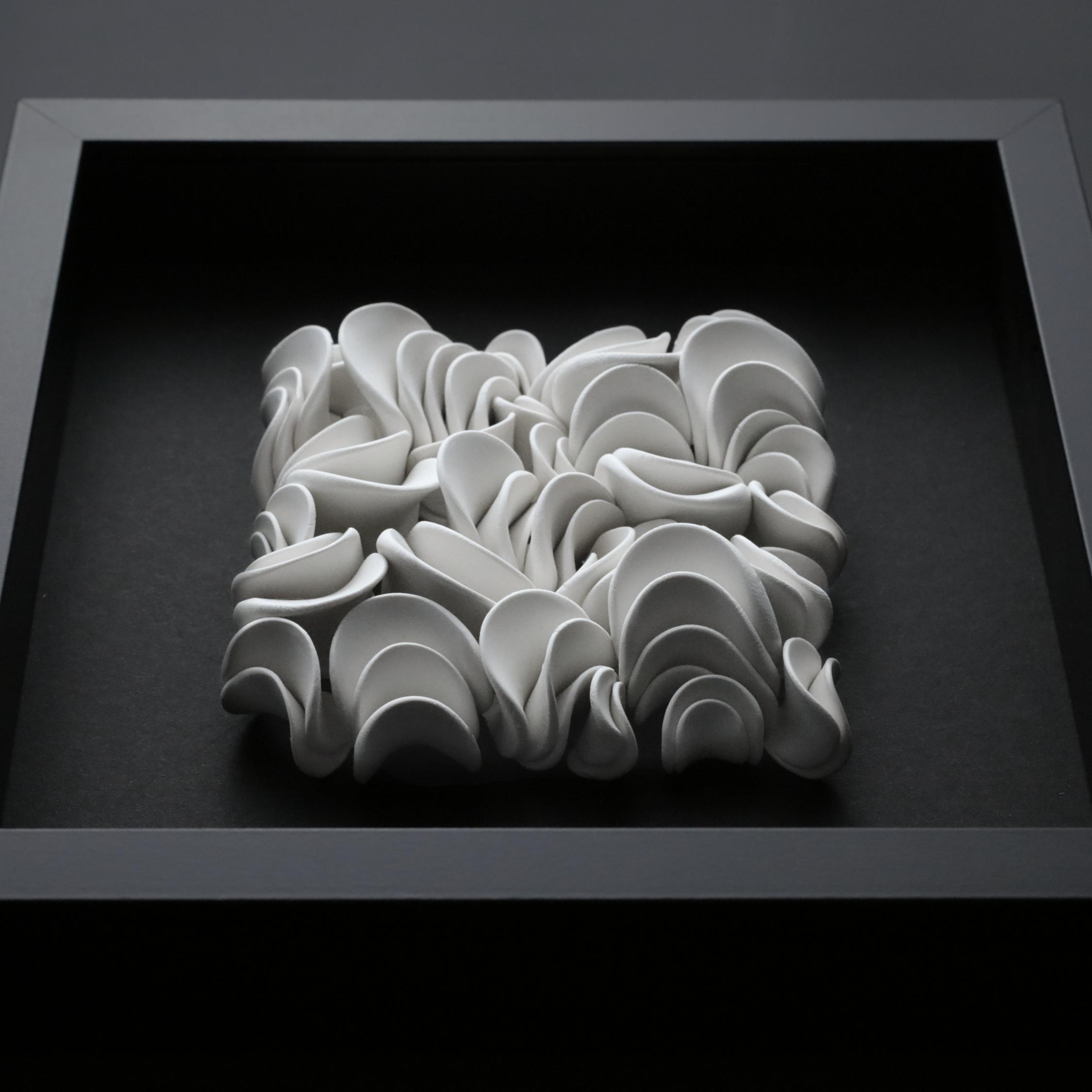 White Clay Tile 'Tectorum' Ceramic Wall Sculpture