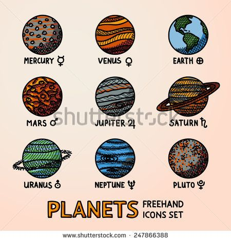 Set Of Color Hand Drawn Planet Icons With Names And Astronomical