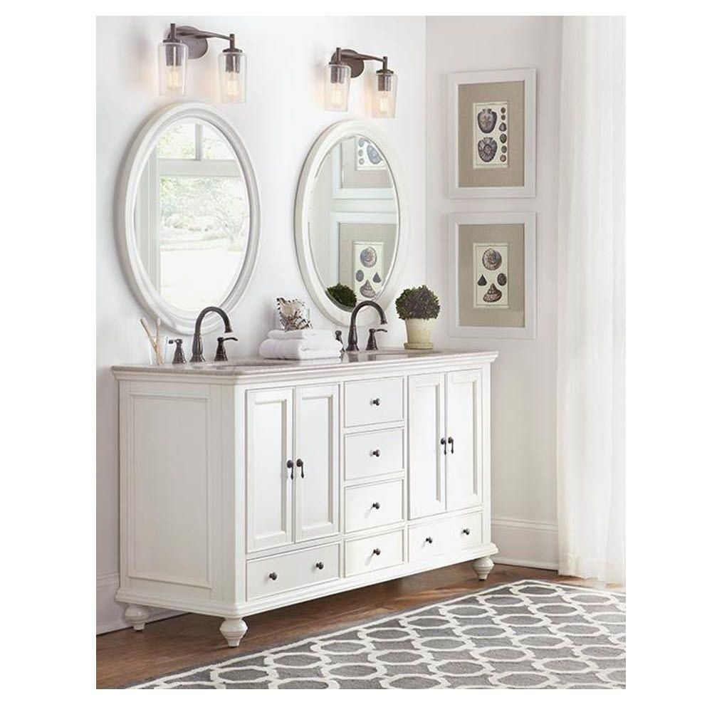 Home Decorators Collection Newport 61 In. Vanity In White With Granite  Vanity Top In Champagne