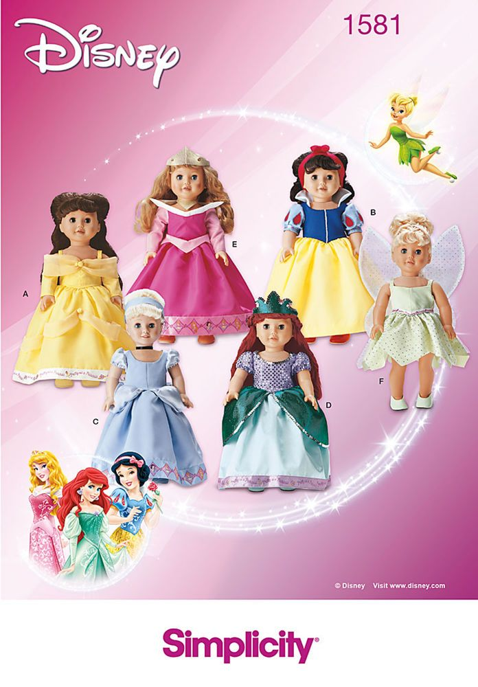 Pattern for Disney Princess Doll Clothes | Simplicity | Glamour in ...