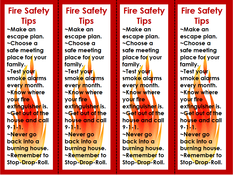 National Fire Prevention Week Bookmarks Safety Tips  Ela