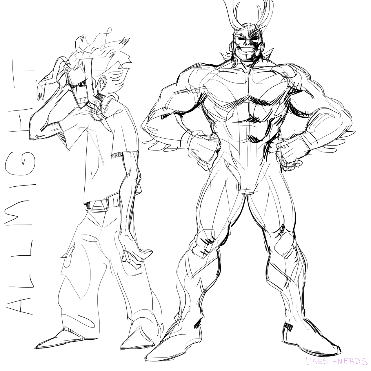 All Might Sketches My Hero Hero Academia Characters Sketches