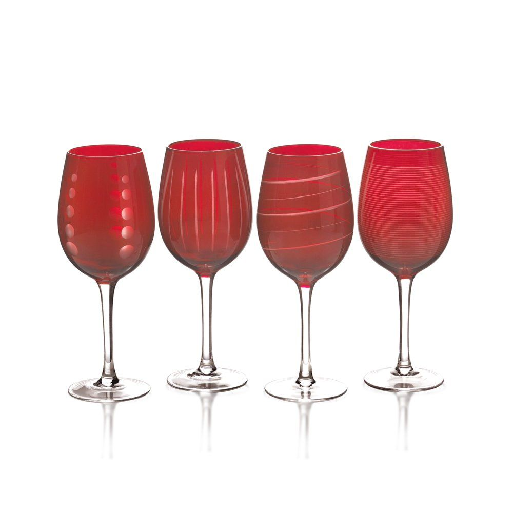 Mikasa Cheers Ruby Set Of 4 Wine Glasses Wine Glass Set Glassware Glass