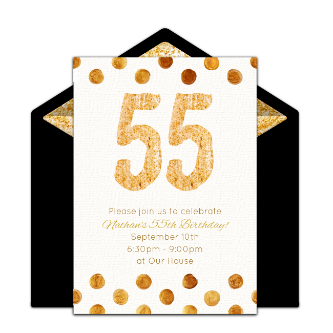Free golden 55 invitations milestone birthdays birthdays and free milestone birthday invitation golden 55th birthday online invitations you can personalize and send via email stopboris Gallery