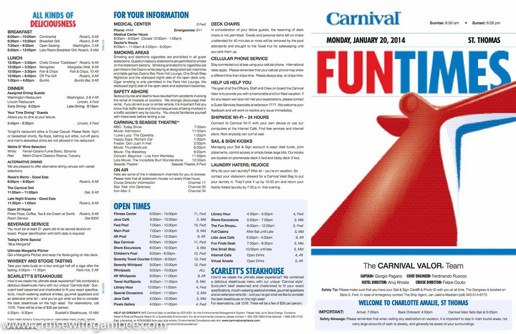Carnival Valor Funtimes Daily Itinerary Carnival Valor Carnival Magic Carnival Liberty