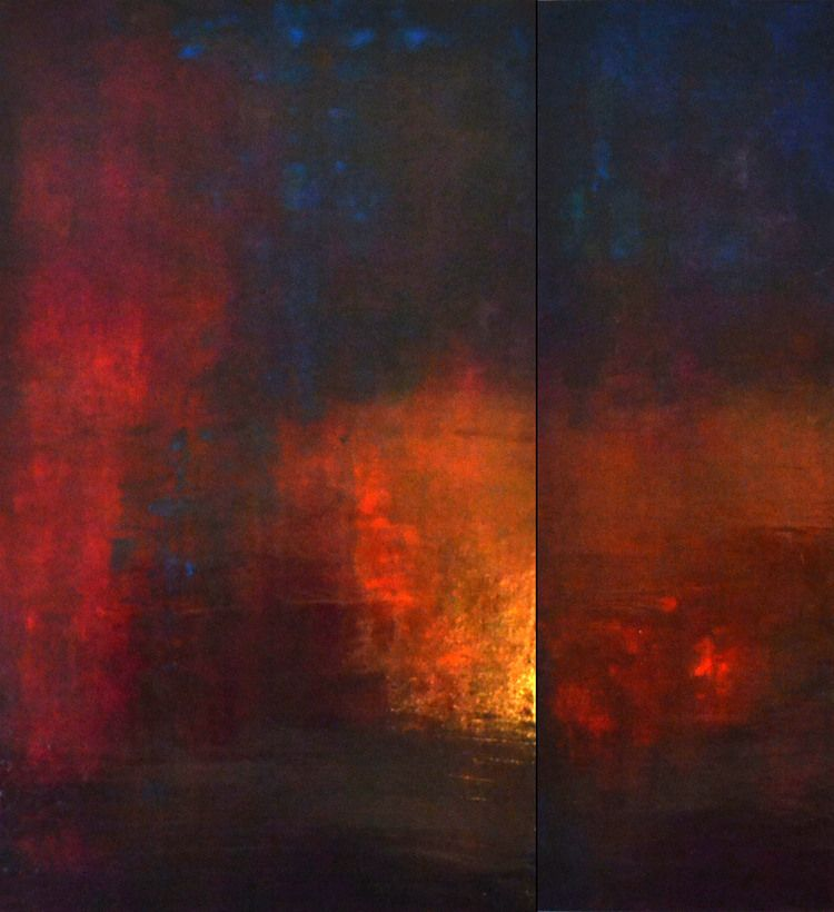 "Ana Elisa Benavent  ""What You Keep to Yourself"", acrylic on board, 60"" x 56"" (two panels)"