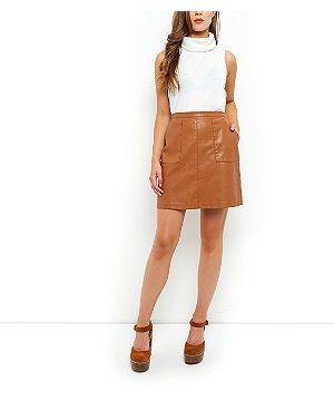 Tan Leather-Look A-Line Skirt | New Look | What to Wear ...