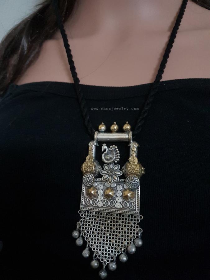 720637f213f09 Chitai pendant dual tone silver replica necklace | Brass & German ...