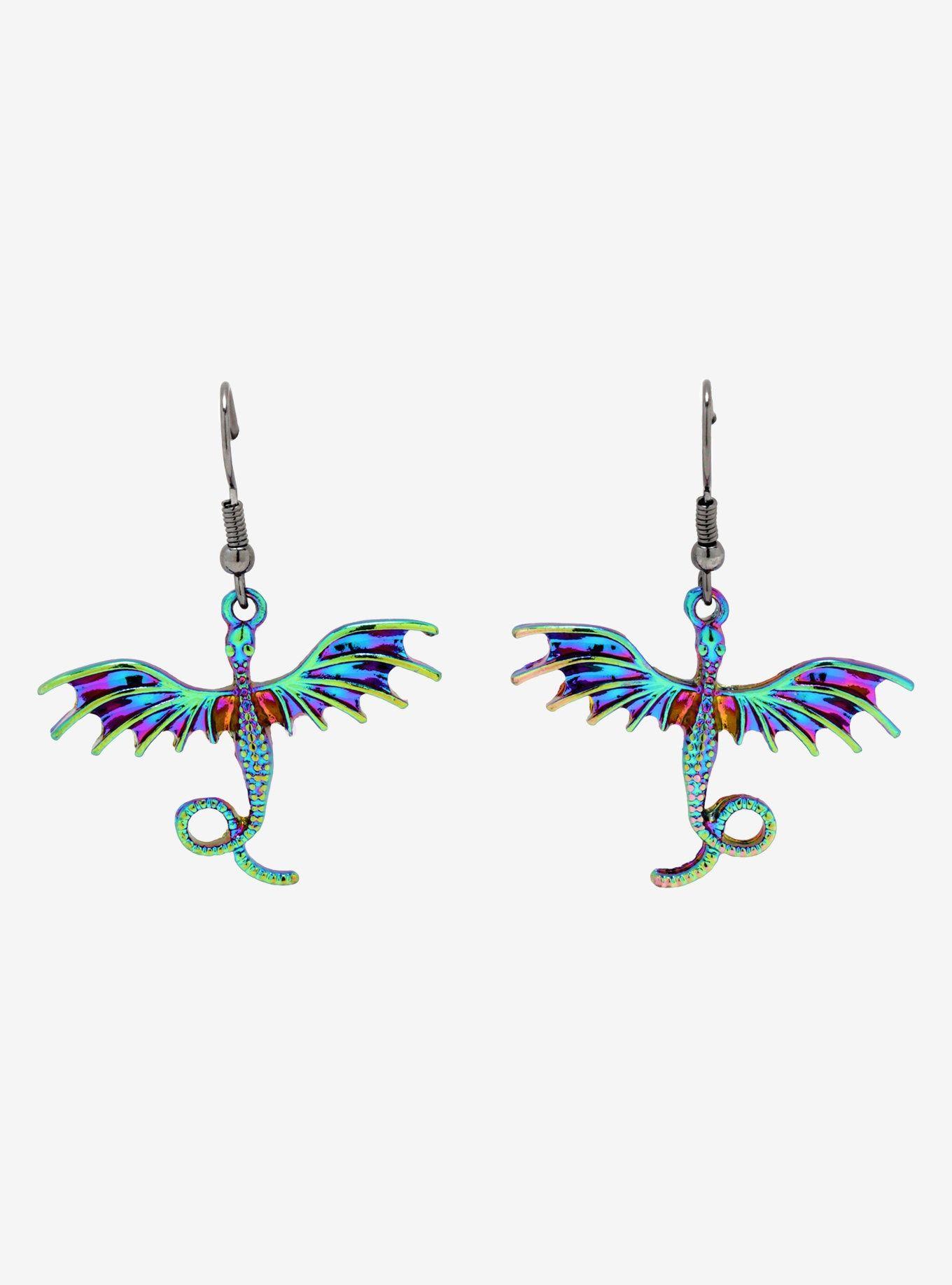 87e4e03bb30f0 Anodized Dragon Drop Earrings in 2019 | Earrings | Earrings, Snake ...