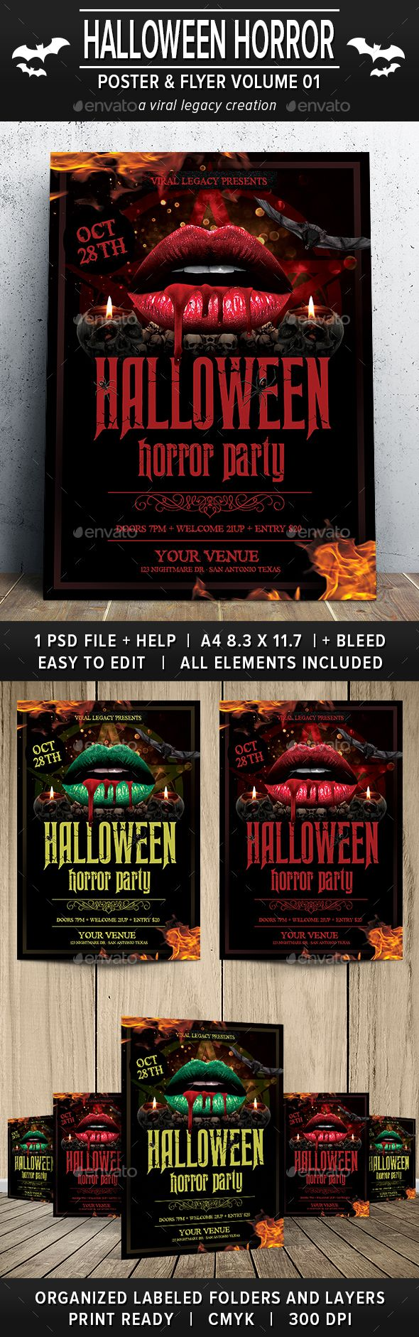 Halloween Horror Party Poster / Flyer V01 | Horror party, Party ...