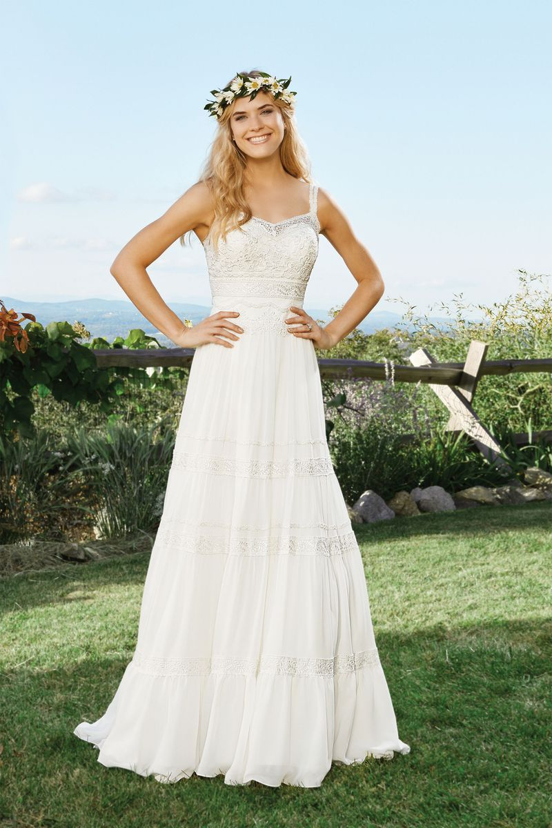 Lillian west wedding dress  Lillian West  Style  Chiffon ALine Dress with Horizontal Lace