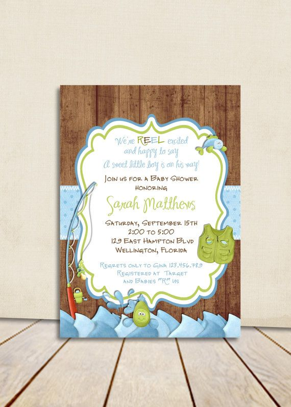 Rustic Fishing Baby Shower Invitation Gone Fishing By