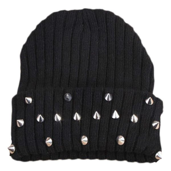 d6e816cea3d Blackfive Spikes Studded Turn Up Brim Knitted Beanie ( 15) ❤ liked on Polyvore  featuring accessories