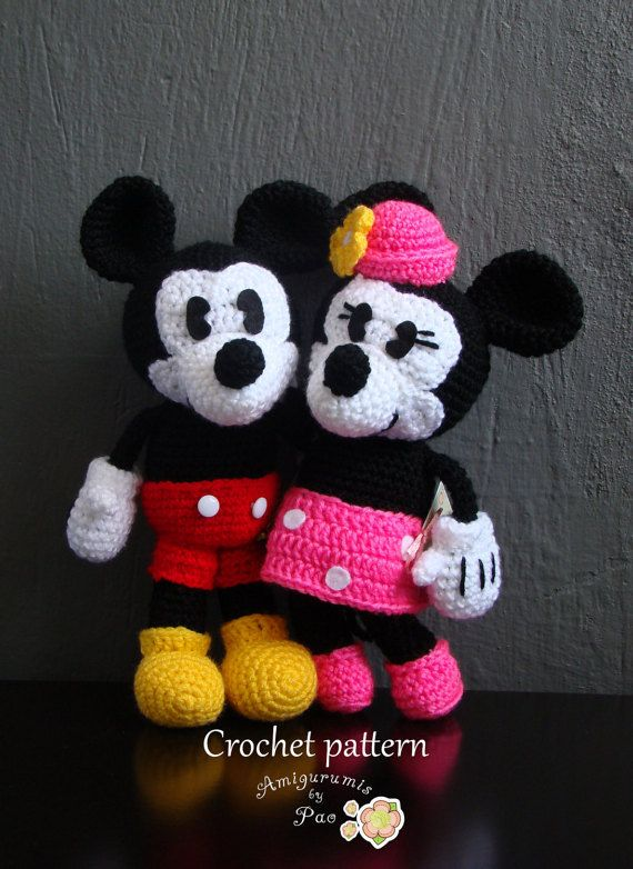 Pack Mickey and Minnie Mouse Amigurumi Pattern | Pinterest | Tejido