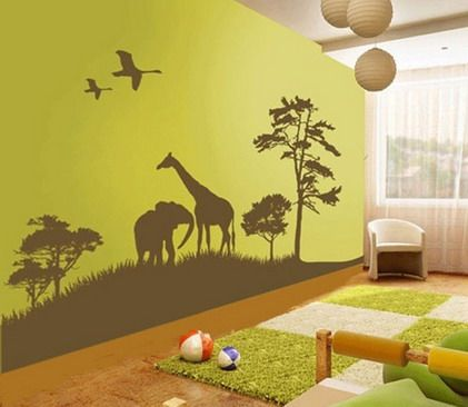 Beautiful Wild Animals Jungle Forest Cartoon For Removable Kids Bedroom  Wall Stickers Decals Part 42