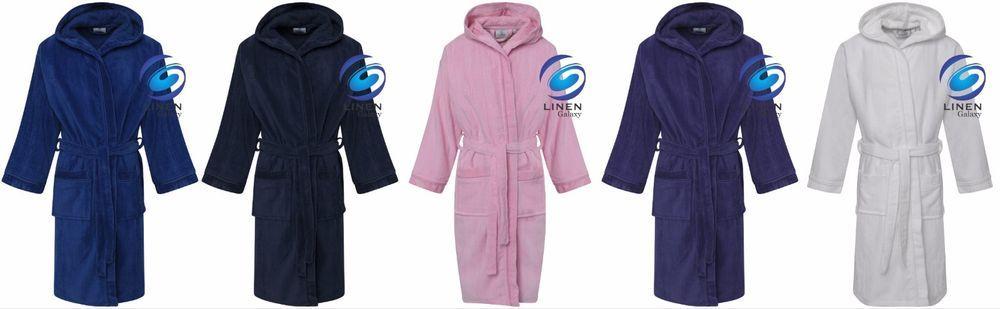 Kids Boys Girls 100% Pure Cotton Velour Terry Towelling Bath Robe Hooded 976528b10