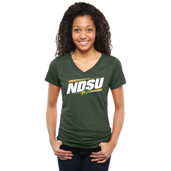 NDSU Bison Women's Double Bar Tri-Blend V-Neck T-Shirt - Green - $24.99