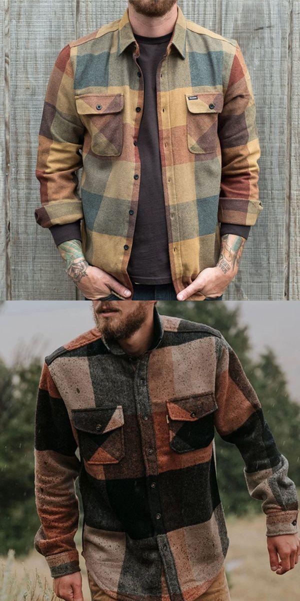 Men S Casual Retro Color Plaid Shirt Jacket Shirt Jacket Men Mens Casual Outfits Stylish Mens Outfits