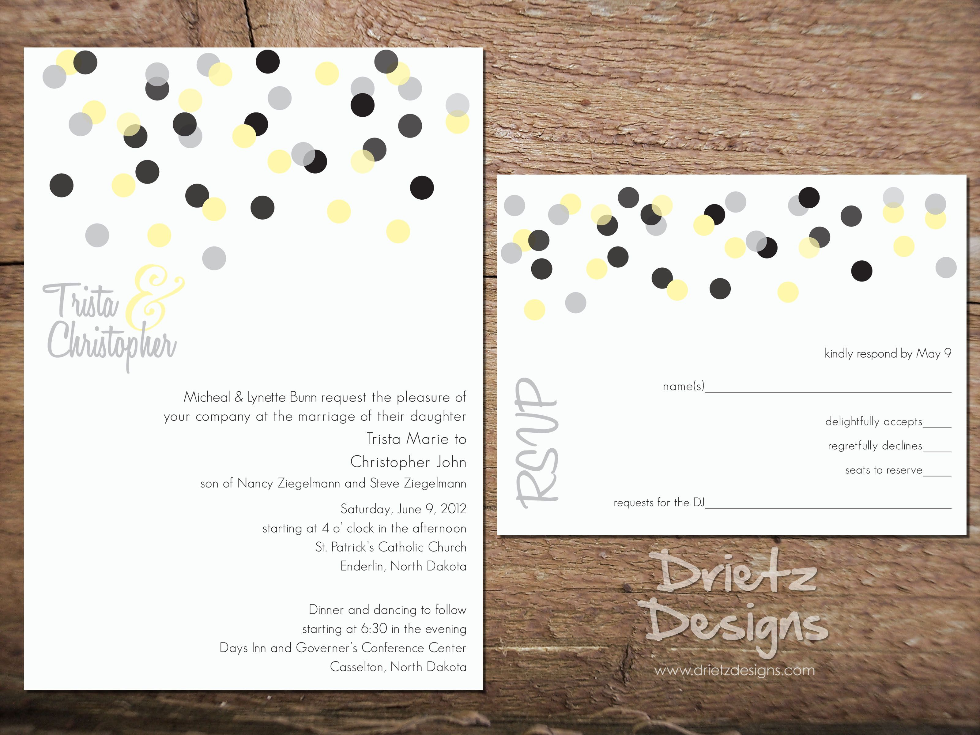 Confetti Wedding Invitation : can be custom made for your wedding ...