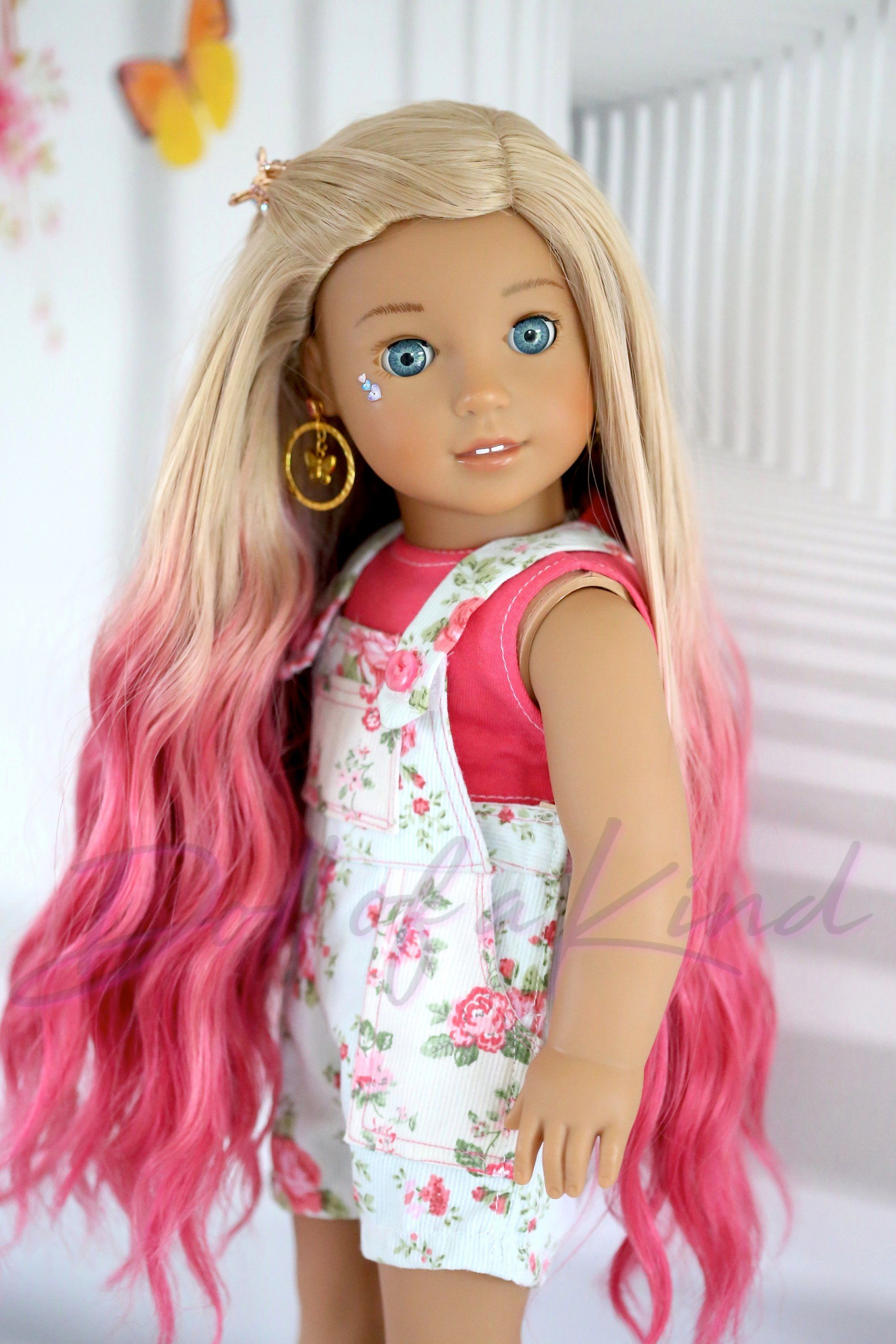Coral Caramel American Girl doll ombre wig Fits most 18'' doll...Gotz, Journey, OG doll, my life, Bonnie and Pearl, BJD Doll #americandolls