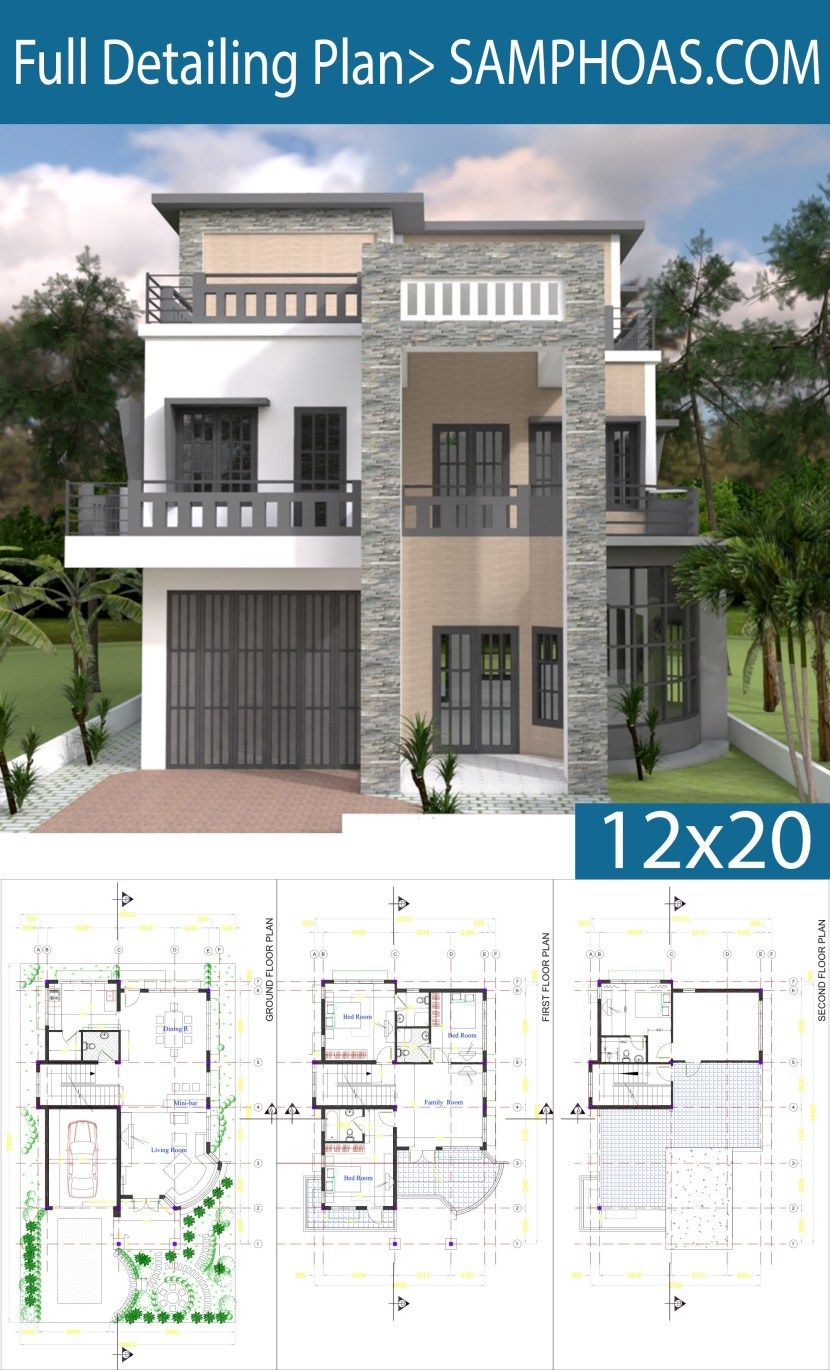 Modern House Plan 9x14 5m With 4 Bedrooms Samphoas Plan Modern House Plan House Plans Modern Bungalow House