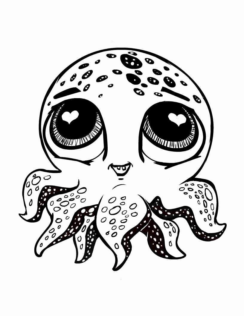 Sea Animals Happy 7 Legged Octopus Sea Animals Coloring Page