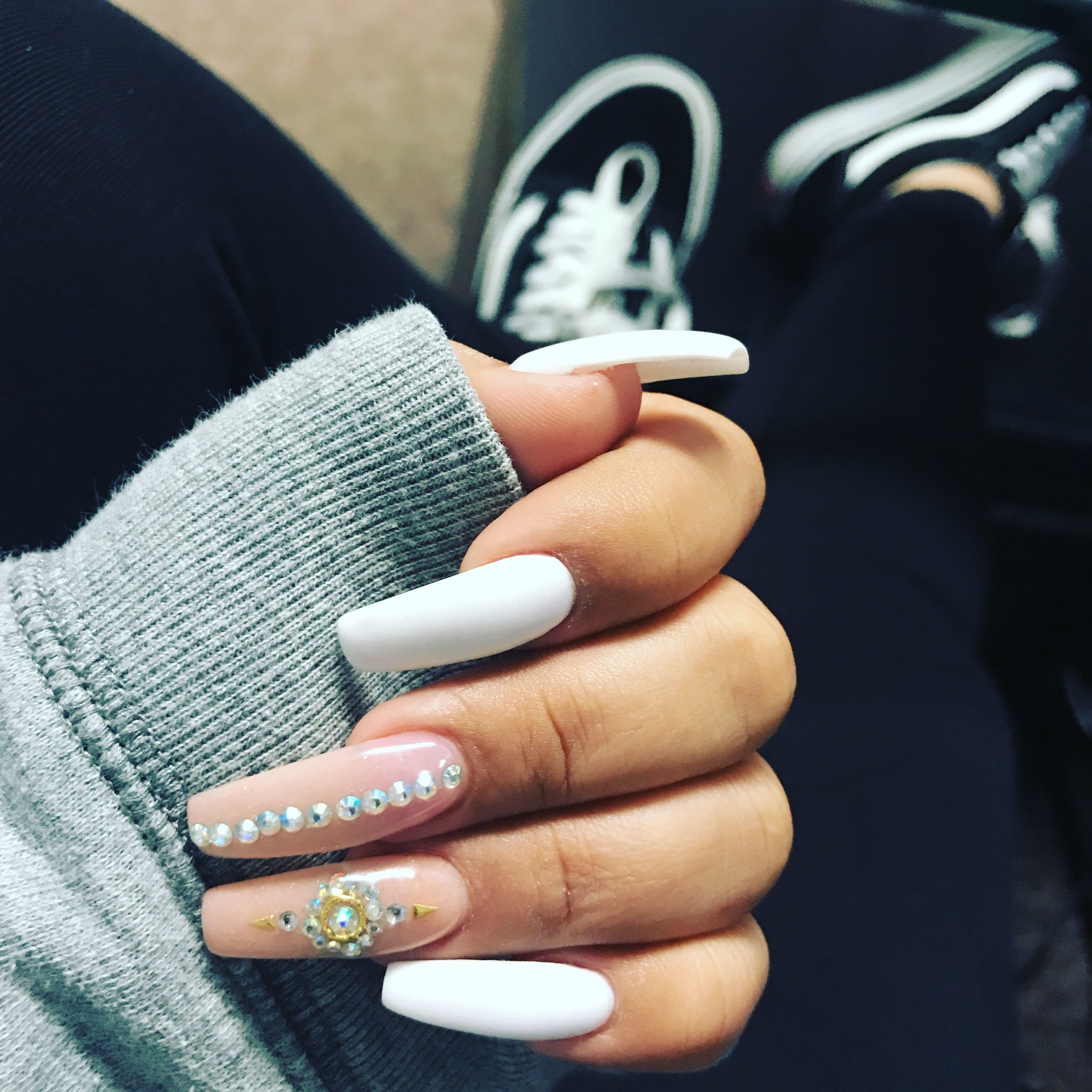 Coffin White And Nude Long Acrylic Nails