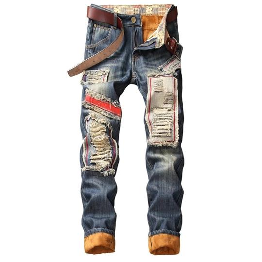 Men S Winter Warm Ripped Jeans Pants Fleece Lined Destroyed Denim Trou Geekbuyig Denim Jeans Ripped Streetwear Jeans High Jeans