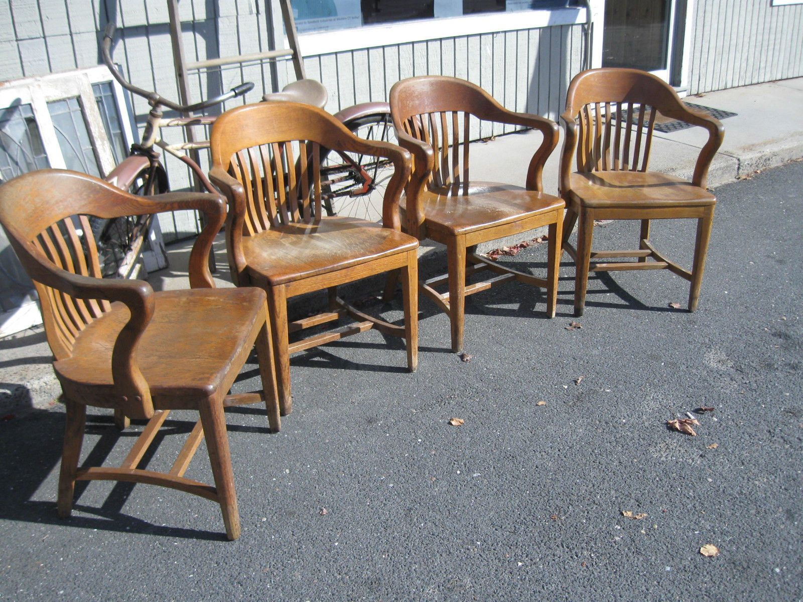Set Of 4 Antique Banker Lawyers Jury Arm Chair Desk Chairs