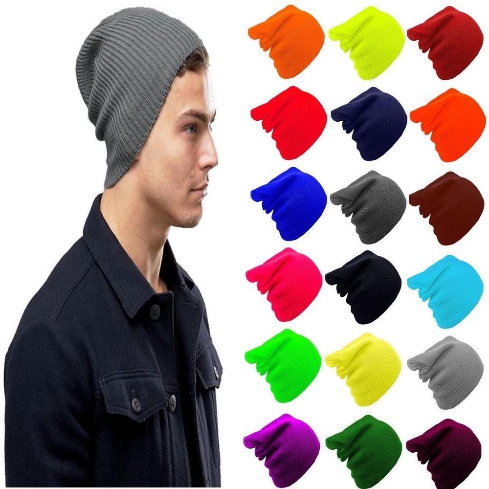 9d39d7f76 Plain Stretch Slouch Mens Beanie Hat One Size | Beanie Hats | Beanie ...