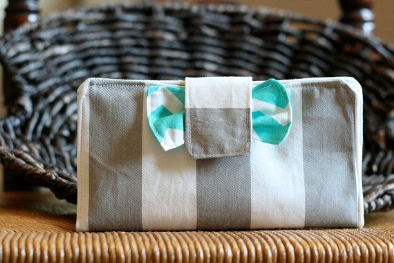 Grey and Aqua Bow Wallet-Perfect for a cash system budget