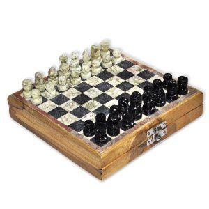 """Wooden Board Chess Set Marble Pieces, 6.5 """""""