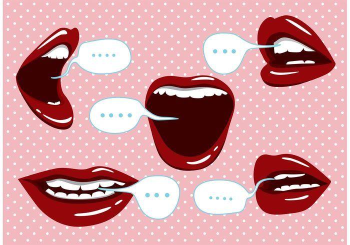 Mouth Talking Icons Art Pop Ilustracion De Labios Produccion