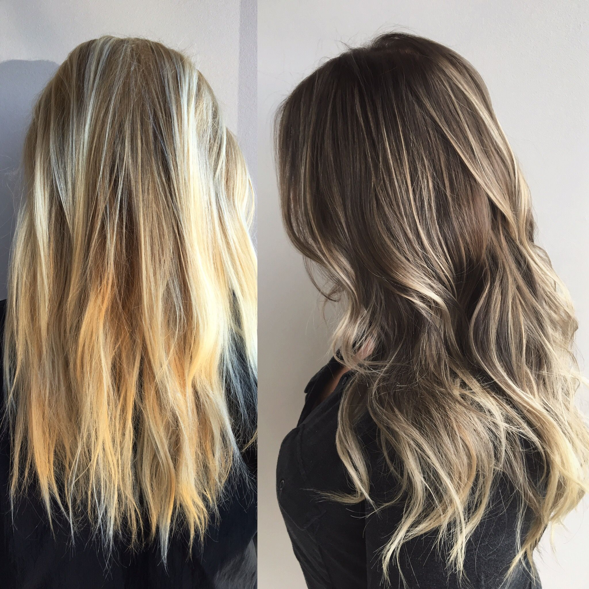 Before And After Blonde Hair To Brown Hair Blonde To Brown Secret Vail Hair Extentions Hair Transfo Cool Blonde Hair Hair Transformation Beauty Hair Makeup