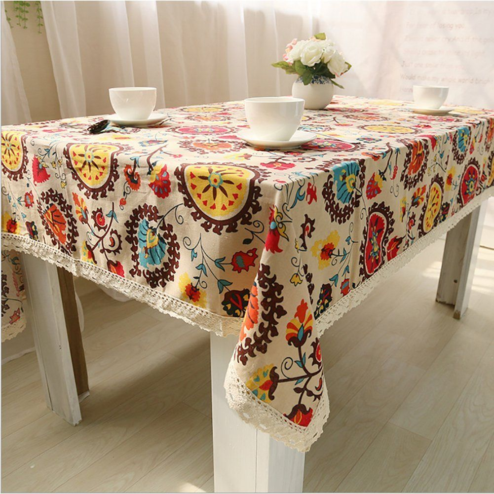 Table Cover Lemon Hour Rectangle Dining Room Modern Tablecloth With Cotton Linen Lace Sun Flower Boho Style Vintage Table Linens Tablecloth Dining Table Cloth