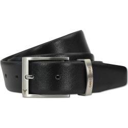 Photo of Classic men's belt with saffiano leather, black Carlo Colucci