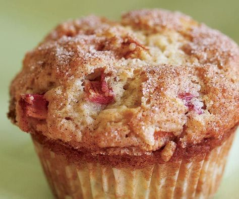CinnamonRhubarb Muffins is part of food-recipes - Sour cream adds richness to these muffins, and the juice released by the rhubarb makes them so tender and moist that you can still serve them the next day (see…